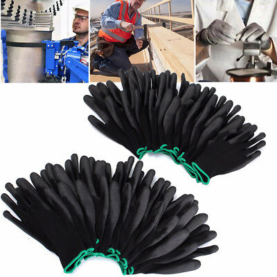 12 Pair Thin PU Nylon Safety Coating Work Gloves Builders Grip Palm Palm Protect
