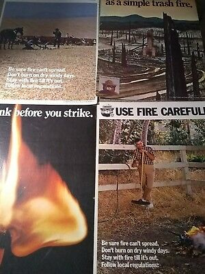 LOT of 4 US. Forest Service Smokey the Bear Vintage Posters '60s