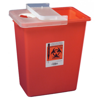 2 PACK! Covidien 8933 SharpSafety Sharps Container Hinged Lid, 12 Gallon, Red