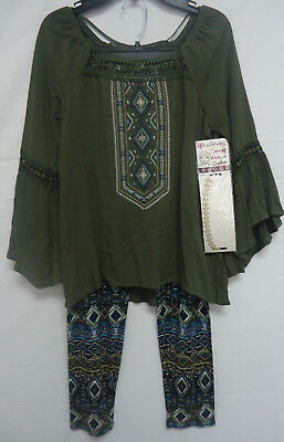Beautees Girls' 2 Piece Outfit Set Leggings Pants Tunic Top GREEN L 14