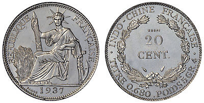 FRENCH INDO-CHINA 1937-(a) Ni Essai 20 Cents NGC MS67 Barre Virtually flawless