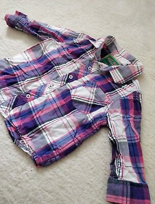 next 6-9 months pink check shirt baby boys