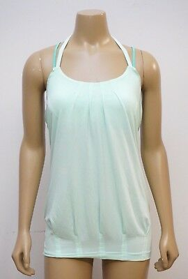 6013f5eb3eccb Lululemon Womens 6 Flow and Go Tank Top Pleated Open Back Halter Strappy  Mint