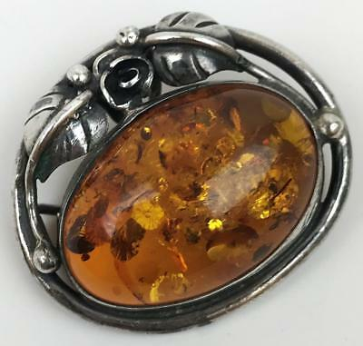 Old Signed WK Baltic Sun Spangled Amber Oval Cabochon Sterling Silver Brooch Pin