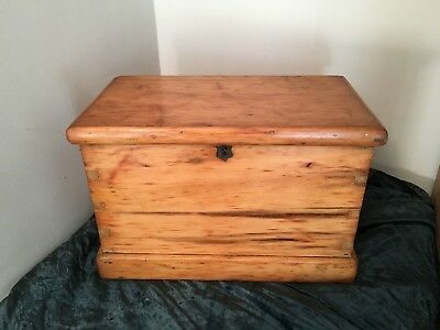 Early 20th C Stripped Pine Trunk Box Original Brass Fittings