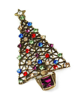 New Sweet Romance Stunning Jeweled Crystal Christmas Tree Holiday Pin ~Usa Made~