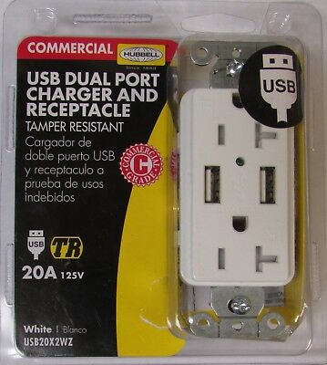 HUBBELL USB20X2WZ 20 Amp 125V USB Dual Port Charger Receptacle WHITE