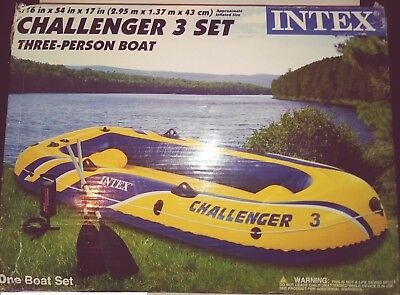 BRAND NEW IN BOX Intex Challenger 3 Inflatable Boat Set, 3 Person Boat