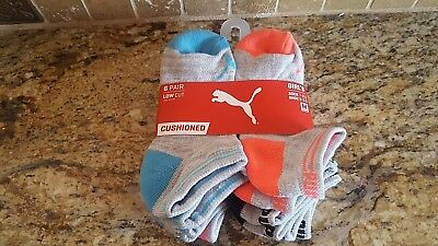6 Pair Low Cut Puma Girl's Socks Size:7- 8.5 Brand New Free Shipping