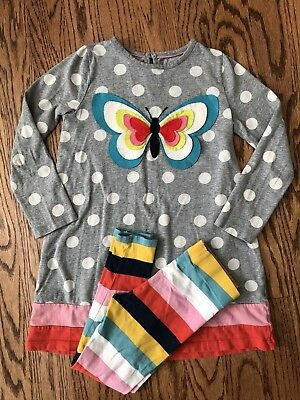 Mini Boden Butterfly Dress And Striped Leggings, Both 7-8