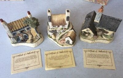David Winter Cottages Lot of 3 Scottish Collection pieces- Boxes, CoAs