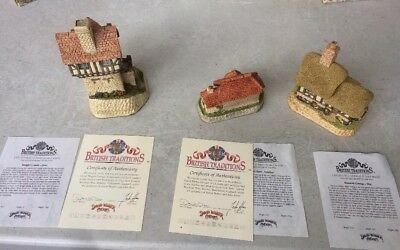 David Winter Cottages Lot of 3 British Traditions pieces- Boxes, CoAs