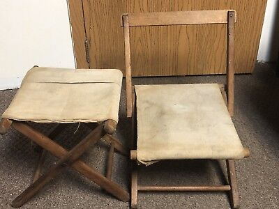 Antique Kid Chair And Foot Stool