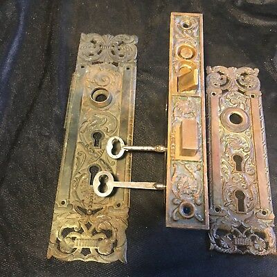 ANTIQUE Penn Portulaca VICTORIAN FANCY BRASS  Entry Mortise Lock & BACK  PLATES