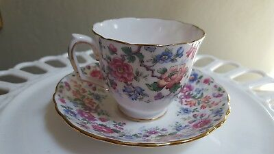 Crown Staffordshire Fine Bone China Teacup and Saucer-Floral pattern