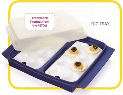 TUPPERWARE New APPETIZER TRAY with EGG INSERTS & Seal 16 DEVILED eggs Tokyo Blue