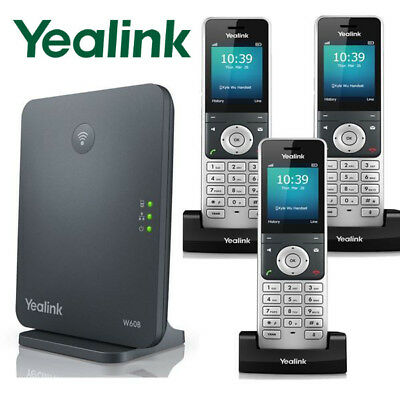 Yealink W60P DECT IP Phone System Base w/ 3 Cordless Handsets W60P + 2 W56H