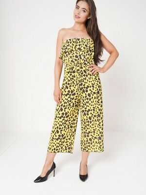 Womens Yellow Leopard Ladies Animal Print Frill Culotte Jumpsuits Trousers Pants