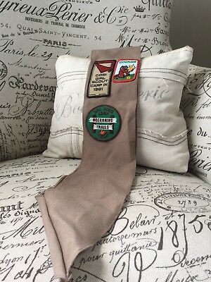 VTG 1970's-80's Girl Scout Brownie Sash 10 Patches Badges Service Projects Ohio
