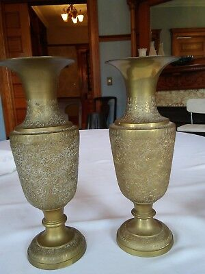 Pair Of Vintage Solid Brass Vases Floral Etched12 Tall X 4 14