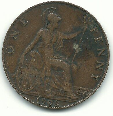 High Grade 1908 Great Britain English Large Penny Cent-Agt227