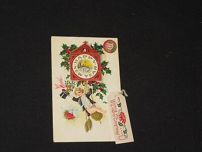 Antique Postcard Happy New Year Merry Christmas Embossed  *3185