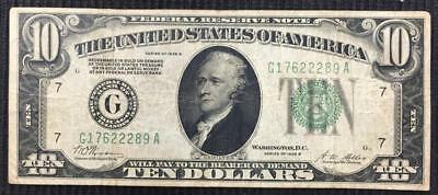 """1928 B  $10 Federal Reserve Note """"Redeemable in Gold"""" Better Grade Note"""