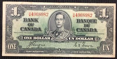 1937 Bank Of Canada $1 One Dollar Ottawa Issue Coyne/Towers High Grade Note