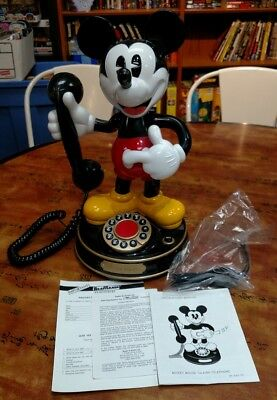 Telemania Mickey Mouse Talking Animated Telephone With Cord And Manual