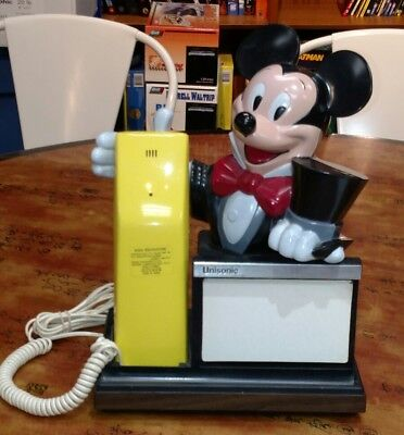 Vintage Mickey Mouse Unisonic Model 7050 Telephone With Notepad Space Or Picture