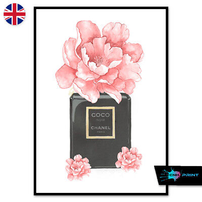 Floral High Fashion Black Perfume Bottle Print A4 A3 Wall Art Decor Fashion 1497