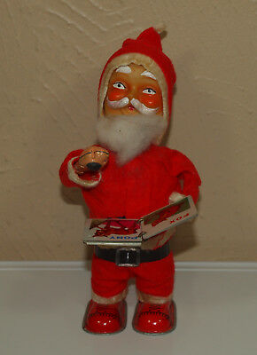 Vintage Christmas Retro Alps Wind Up TIN READING SANTA Toy w/ Book JAPAN