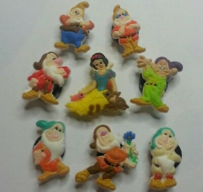 Snow White & 7 Dwarfs  8pc SHOE CHARM LOT FOR CROC SHOE JIBBITZ BRACELET Dopey