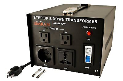 """Simran AC-2000 Step Up/Down Voltage Converter Transformer """"PRE-OWNED"""""""