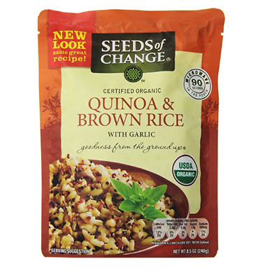 Pack of 12 Seeds of Change Quinoa & Brown Rice With Garlic, 8.5 Ounce (2 Boxes)