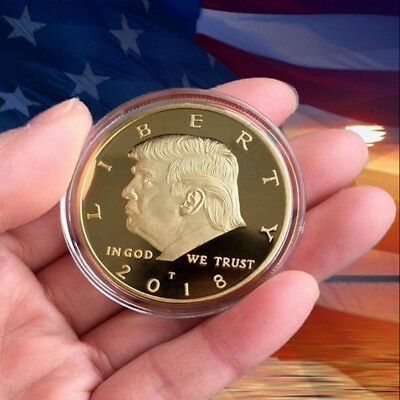 2018 President Donald Trump 24k Gold Plated EAGLE Commemorative Coin RF