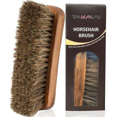"6.7"" Horsehair Shoe Shine Brush w/Hair Bristles for Boots, Shoes & Other Leather"