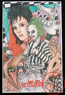 Beattlejuice 1988 Movie 11x17 Poster Print Signed By Artist Chris Oz Fulton!!