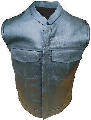 Motorcycle Vest Sons Of Anarchy Style Biker Rider Old American Bike Leather Vest