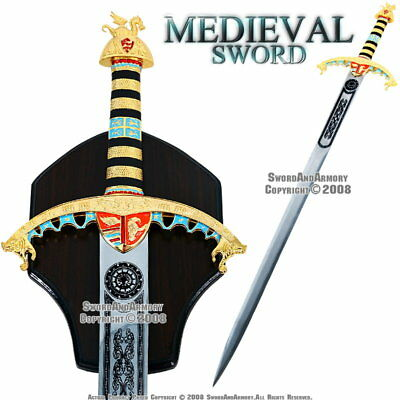 Ornate King Richard Lionheart Medieval Arming Sword with Display Plaque