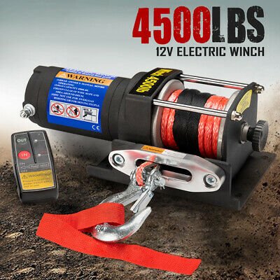 12V Wireless Electric Winch 4500LBS / 2041Kg Synthetic Rope ATV 12Volt 4wd Boat