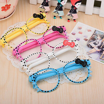 Cute Frame Kittens Creative Cartoon Ballpoint Glasses Pen Stationary Student UK