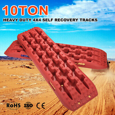 RED 10T Recovery Tracks Off Road 4x4 4WD Car Snow Mud Sand Track 10 Ton Pair