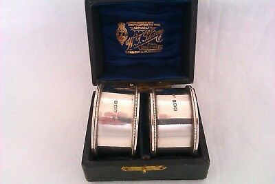 Stunning Pair Of Solid Silver Boxed Napkin Rings John Rose 1916