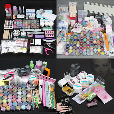 Nail Art Care Set Acrylic Powder Liquid Starter DIY Kit Manicure Brush Dotting