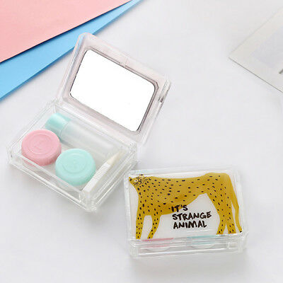 Travel Outdoor Cute Mini Storage Contact Lens Holder Case Mirror Box Container B