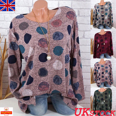 UK Womens Long Sleeve Blouse Casual Spotted Boho Loose T-shirts Tops Plus Size