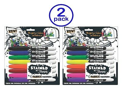 new stained by sharpie brush tip fabric markers 8 colored