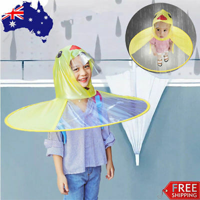 2018 Cartoon Duck Children Raincoat Umbrella Ufo Shape Rain Hat Cape Foldable Au