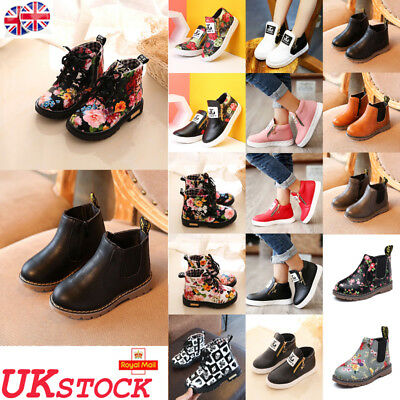 UK Boys Girls Kids Leather Ankle Boots Winter Flat Toddler Martin Shoes Size